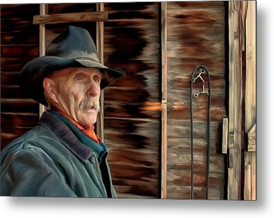 Montana Cowboy Metal Print by Michael Pickett