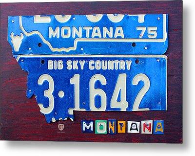 Montana License Plate Map Metal Print