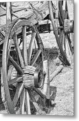 Montana Old Wagon Wheels Monochrome Metal Print by Jennie Marie Schell