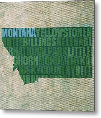 Montana Word Art State Map On Canvas Metal Print