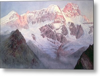 Monte Rosa At Sunrise From Above Alagna Metal Print by Alfred Gibson William
