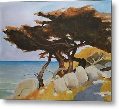 Metal Print featuring the painting Monterey Cypress by Ed  Heaton