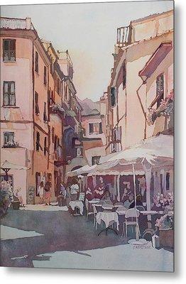 Monterosso Cafe Metal Print by Jenny Armitage
