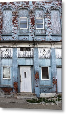 Montezuma Iowa - Blue Brick Building Metal Print by Gregory Dyer