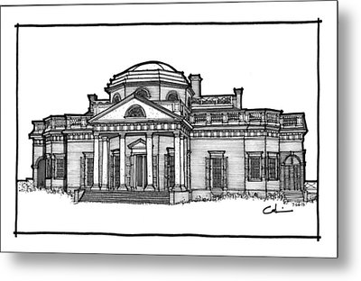 Metal Print featuring the drawing Monticello by Calvin Durham