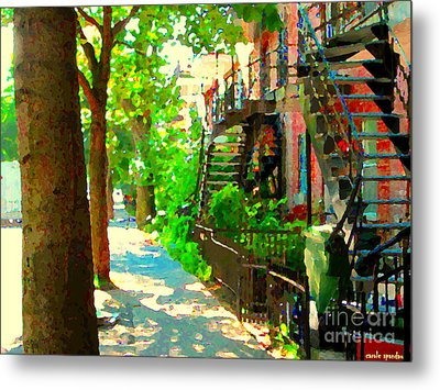 Montreal Art Colorful Winding Staircase Scenes Tree Lined Streets Of Verdun Art By Carole Spandau Metal Print