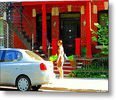 Montreal Art Summer Stroll On A Sunny Morning Colorful Street Verdun City Scene Carole Spandau Metal Print by Carole Spandau