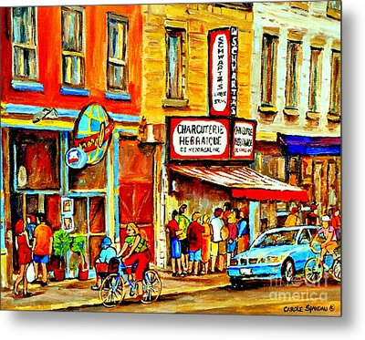 Montreal Bike Path Reserved Lane Cyclists Drive By Schwartzs Deli  Line-up Montreal Paintings Metal Print by Carole Spandau