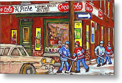 Montreal Hockey Paintings At The Corner Depanneur - Piche's Grocery Goosevillage Psc Griffintown  Metal Print by Carole Spandau