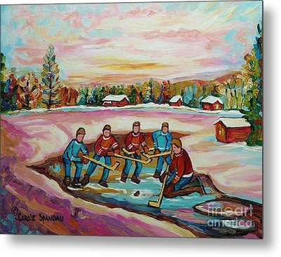 Montreal Memories Pond Hockey Countryside Winter Art In Laurentians Carole Spandau Paintings Metal Print
