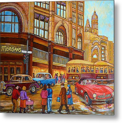 Montreal Memories-streetcars-morgan's Department Store At St.catherine And Union Metal Print by Carole Spandau