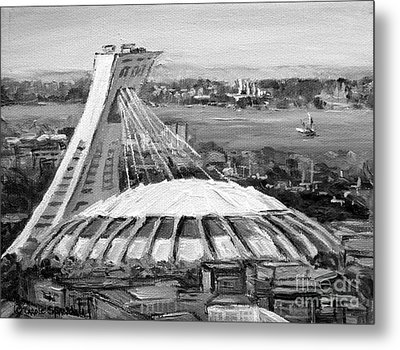 Montreal Olympic Stadium And Olympic Park-home To Biodome And Velodrome-montreal In Black And White Metal Print by Carole Spandau