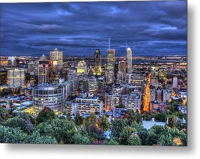 Metal Print featuring the photograph Montreal Skyline At Dusk by Shawn Everhart