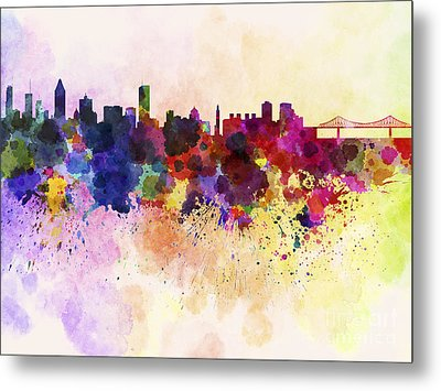 Montreal Skyline In Watercolor Background Metal Print by Pablo Romero