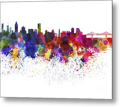 Montreal Skyline In Watercolor On White Background Metal Print