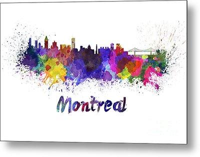 Montreal Skyline In Watercolor Metal Print