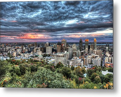 Montreal Skyline Sunset From Mount Royal Metal Print