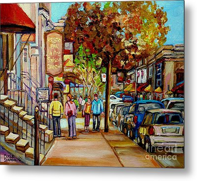 Montreal Streetscenes By Cityscene Artist Carole Spandau Over 500 Montreal Canvas Prints To Choose  Metal Print by Carole Spandau