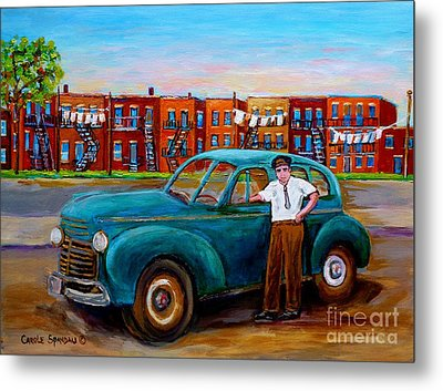 Montreal Taxi Driver 1940 Cab Vintage Car Montreal Memories Row Houses City Scenes Carole Spandau Metal Print by Carole Spandau