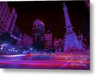 Monument Circle Indianapolis Light Streaks Night Metal Print