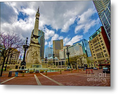 Monument Circle Indianapolis Wide Metal Print by David Haskett