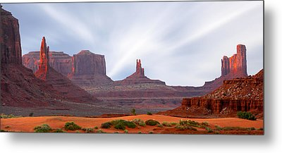 Monument Valley At Sunset Panoramic Metal Print by Mike McGlothlen
