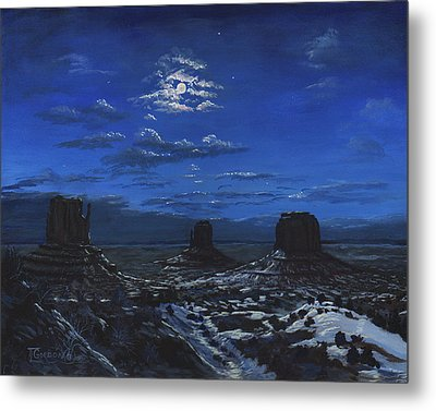 Monument Valley By Moon Light Metal Print by Timithy L Gordon