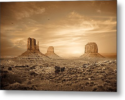 Monument Valley Golden Sunset Metal Print