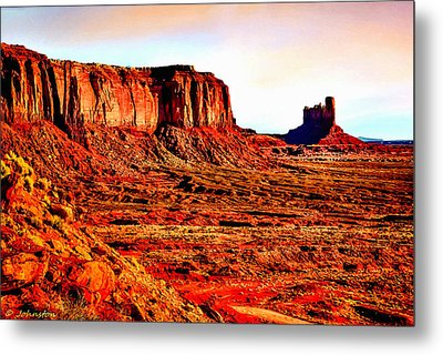 Monument Valley Sunset By Bob Johnston Metal Print by Bob and Nadine Johnston