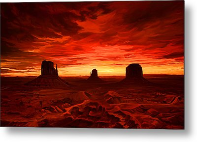 Metal Print featuring the painting Monument Valley Sunset by Tim Gilliland