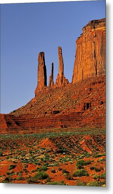 Monument Valley - The Three Sisters Metal Print by Christine Till