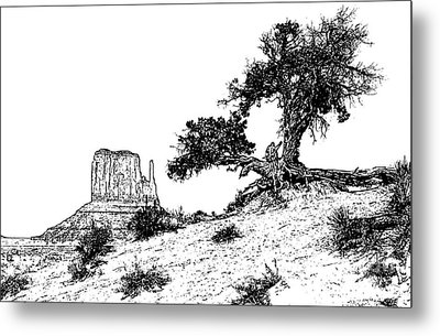 Monument Valley Tree And Monolith Scenic Landscape Black And White Stamp Digital Art Metal Print by Shawn O'Brien