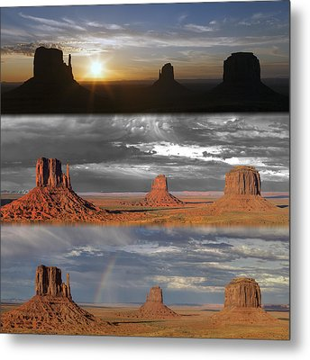 Monument Valley Triptych Metal Print by Patrick Jacquet