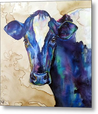 Metal Print featuring the painting Moo by Christy  Freeman