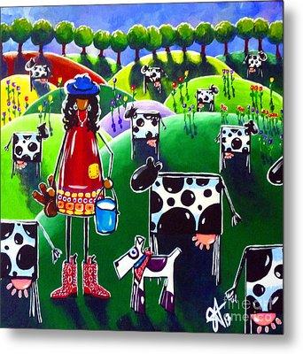 Moo Cow Farm Metal Print by Jackie Carpenter