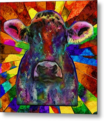 Moo Cow With Color Metal Print