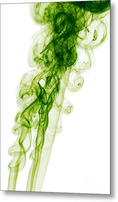 Mood Colored Abstract Vertical Green Smoke Wall Art 01 Metal Print by Alexandra K
