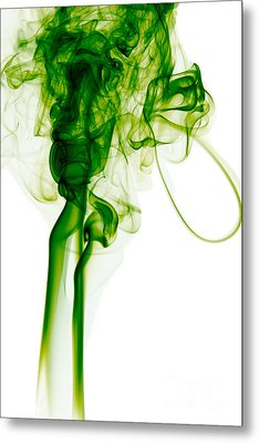 Abstract Vertical Green Mood Colored Smoke Wall Art 03 Metal Print by Alexandra K