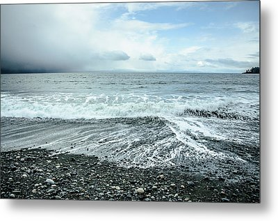 Moody Waves French Beach Metal Print by Roxy Hurtubise