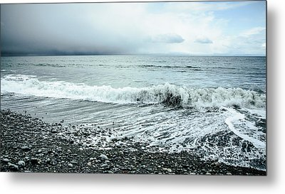 Moody Shoreline French Beach Metal Print by Roxy Hurtubise