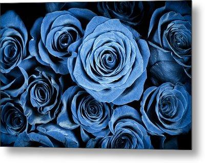 Moody Blue Rose Bouquet Metal Print by Adam Romanowicz