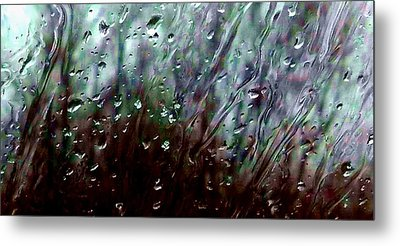 Metal Print featuring the photograph Moody Blues Rain On The Window Series 2 Abstract Photo by Marianne Dow