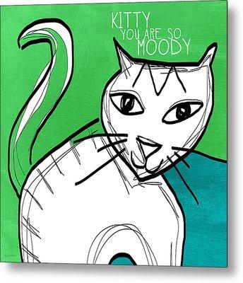 Moody Cat- Pop Art Metal Print