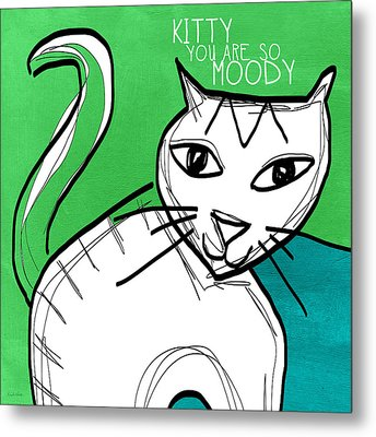 Moody Cat- Pop Art Metal Print by Linda Woods