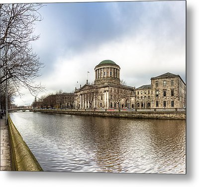 Moody Winter Day On Inns Quay In Dublin Metal Print by Mark E Tisdale