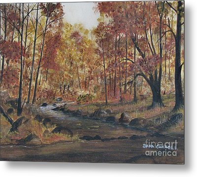 Moody Woods In Fall Metal Print by Dana Carroll