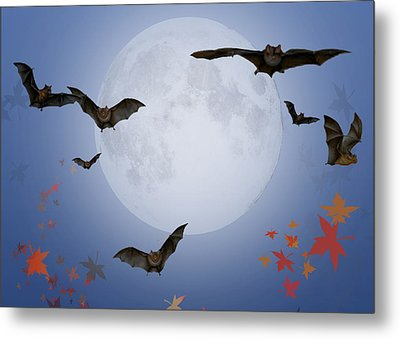 Moon And Bats Metal Print by Melissa A Benson