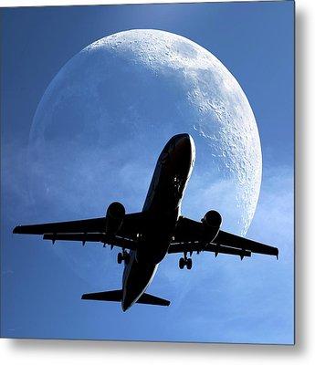 Moon And Passenger Plane Metal Print by Detlev Van Ravenswaay
