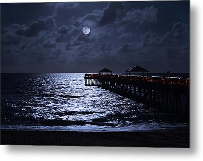 Moon And Sea Metal Print by Laura Fasulo