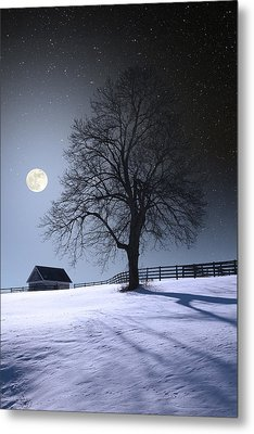 Metal Print featuring the photograph Moon And Snow by Larry Landolfi